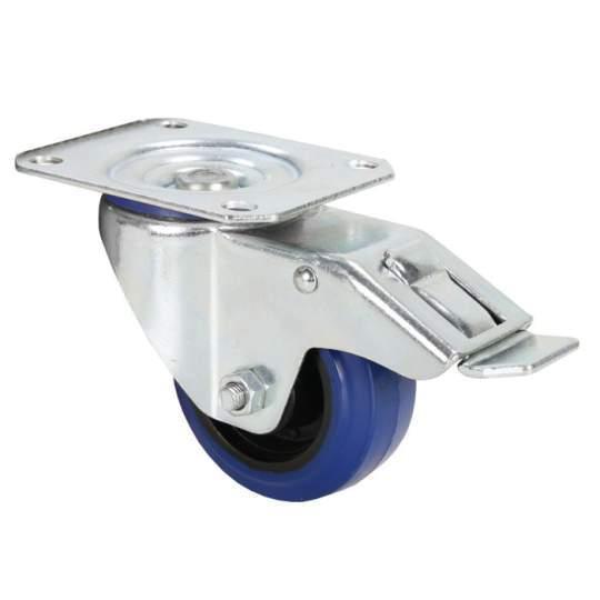 372091 Lenkrolle 80 mm mit blauem Rad und Feststeller