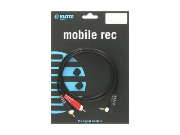 Y-Kabel schwarz 1m WK klinke 3,5 mm - 2 x RCA