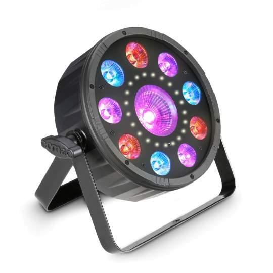 FLAT MOON Flacher 3-in-1 PAR-Scheinwerfer mit RGB + UV LEDs und Stroboskop