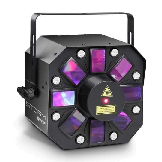STORM 3 in 1 Lichteffekt, 5 x 3W RGBWA Derby, Strobe und Grating Laser
