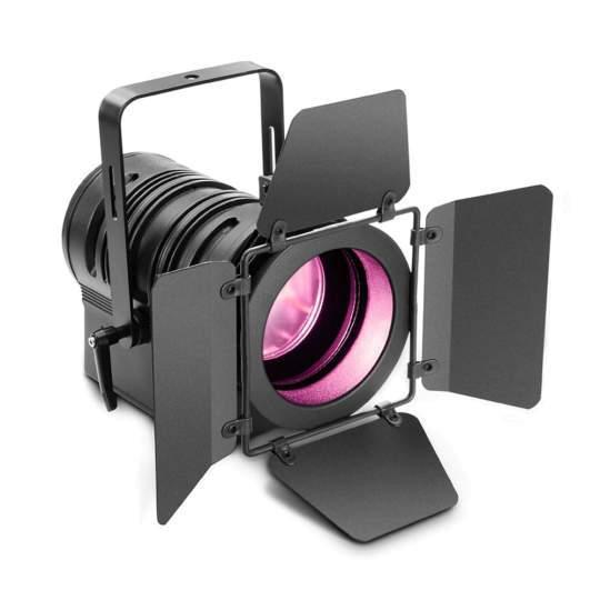 TS 60 W RGBW Theater-Spot mit Plankonvexlinse und 60W RGBW-LED in schwarzem Gehäuse